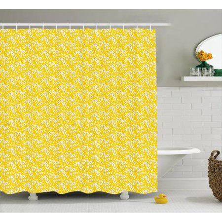 Cherry Blossom Shower Curtain, Naive Spring Floral Design of Cherry Flowers and Floating Petals, Fabric Bathroom Set with Hooks, 69W X 75L Inches Long, Yellow White Black, by Ambesonne (Fabric Floating Flowers)