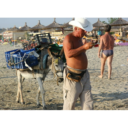 LAMINATED POSTER Albania Hat Crate Seller Beach Donkey Poster Print 24 x 36