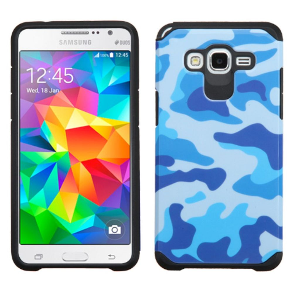 Insten Camouflage Hard Dual Layer Rubber Silicone Case For Samsung Galaxy Grand Prime - Blue/Black