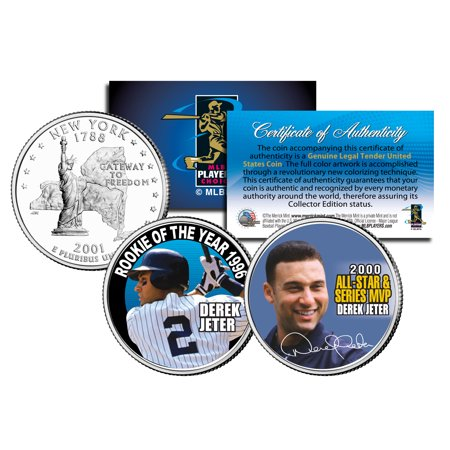 DEREK JETER *Rookie of the Year & World Series MVP* NY State Quarters 2-Coin Set 2001 World Series Mvp