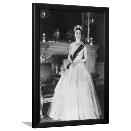 Queen Elizabeth Buckingham Palace - HM Queen Elizabeth II at Buckingham Palace, 12th March 1953 Framed Print Wall Art By Sterling Henry Nahum Baron