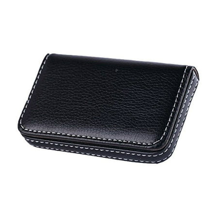 Black Pocket PU Leather Business ID Credit Card Holder Case Wallet with Magnetic Flap Leather Business Card Stand
