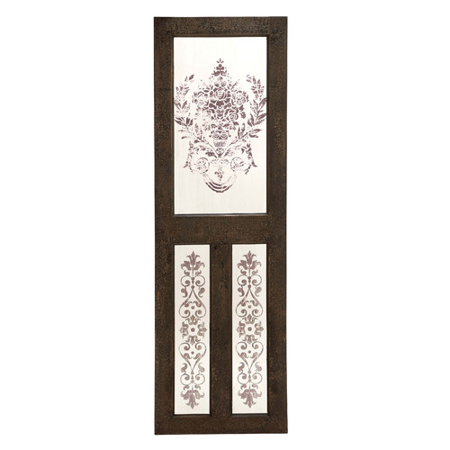 Classic Designed Wood Mirror Wall Decor With Floral Design Home Decor