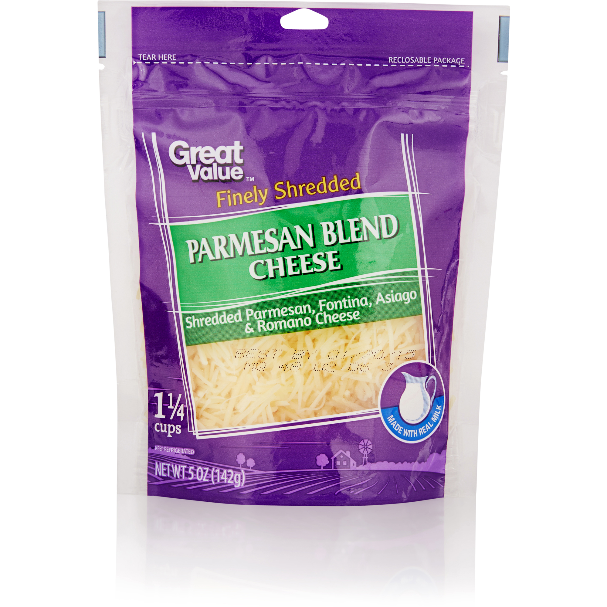 Great Value Finely Shredded Parmesan Blend Cheese, 5 oz