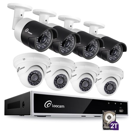 Loocam 8-Channel 1080p HD Video DVR Surveillance Camera Kit, 4pcs 2MP Outdoor/Indoor Weatherproof Bullet Cameras and 4pcs 2MP Dome Cameras with IR Night Vision LEDs- 2TB HDD
