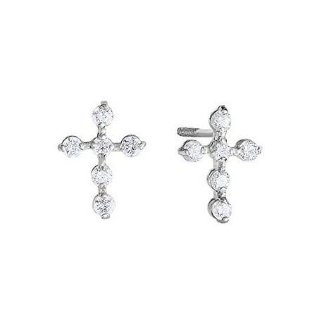 14k White Gold CZ Cross Stud Earrings for Girls with Secure Screw-backs