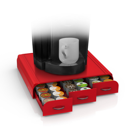 Mind Reader Coffee Pod Triple-Drawer, 36-Capacity, Red