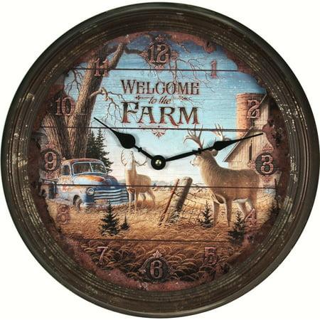 Rivers Edge Deer on Farm Vintage Wall Clock