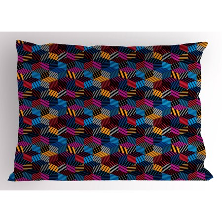 Geometric Pillow Sham Stripped Three Dimensional Cube Pattern Vibrant Color Palette Eighties Design, Decorative Standard Queen Size Printed Pillowcase, 30 X 20 Inches, Multicolor, by (Three Dimensional Computer Vision A Geometric Viewpoint)