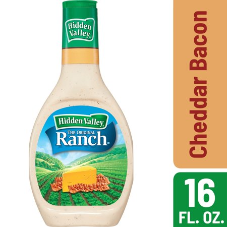 Hidden Valley Cheddar and Bacon Flavored Ranch Salad Dressing & Topping, Gluten Free - 16 Ounce Bottle