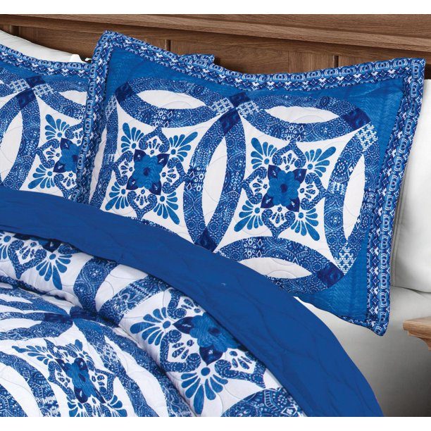 Mainstays Traditional Wedding Ring Blue Patterned Sham Collection Walmart Com Walmart Com