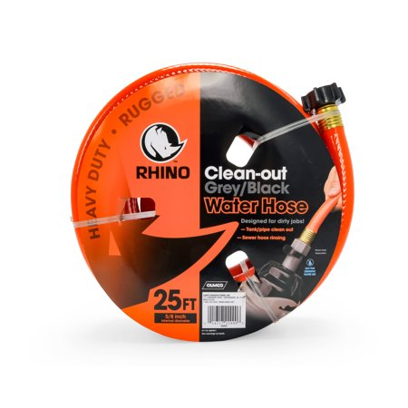 - Camco 22990 RhinoFLEX 25ft Clean Out Hose - Ideal For Flushing Black Water, Grey Water or Tote Tanks 5/8