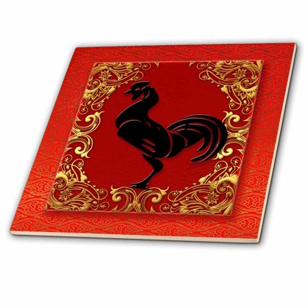 3dRose Chinese Zodiac Year of the Rooster Chinese New Year Red, Gold and Black - Ceramic Tile, 4-inch