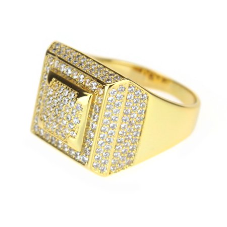Mens 14K Gold Plated CZ Icedout Pyramid Hip Hop Ring Size 8