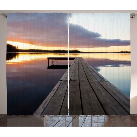 Landscape Curtains 2 Panels Set, Serenity Relaxing Themed Port Pier Wooden Rustic Image of Dawn Sunset in Lake Art, Window Drapes for Living Room Bedroom, 108W X 90L Inches, Multicolor, by Ambesonne
