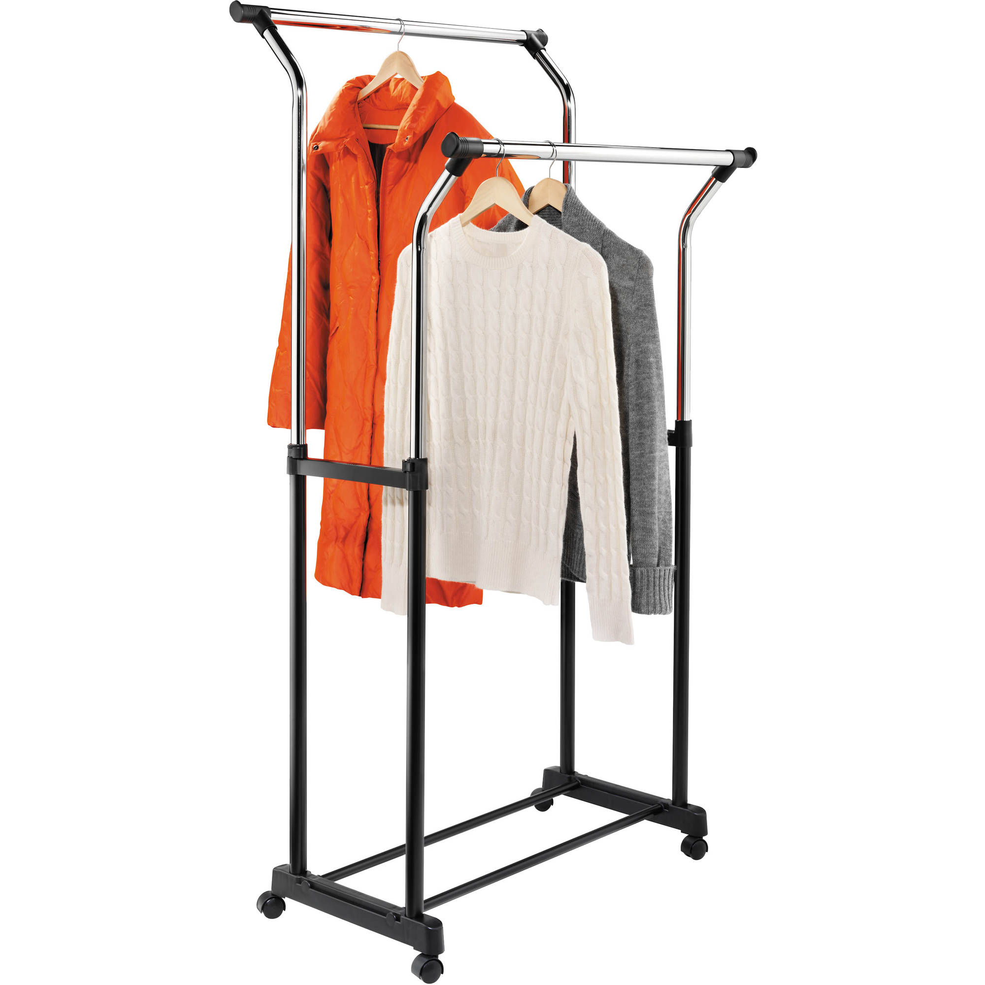 Honey Can Do Flared Double Garment Rack, Black/Chrome