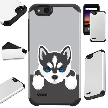 Huskey Dog (For ZTE ZFive G LTE / ZFive C / Avid 4 / Fanfare 3 / Blade Vantage / Tempo X / Tempo Go Case Hybrid TPU Fusion Phone Cover (Cute)