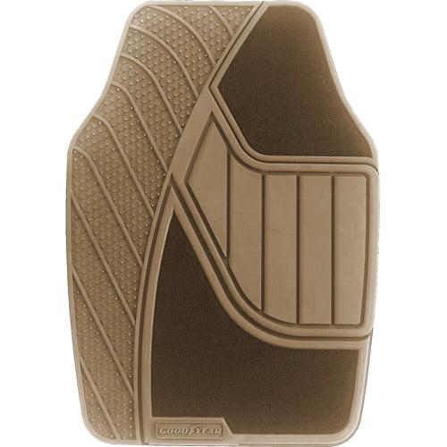 Goodyear 4pc Premium Carpet/Rubber Floor Mats, Tan