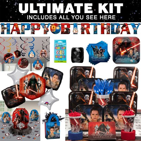 Star Wars Episode VII Birthday Party Ultimate Tableware Kit Serves 8 - Party Supplies