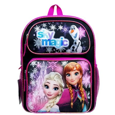 Disney Frozen Sky Magic Black/Purple Medium Backpack/School Book Bag for Kids