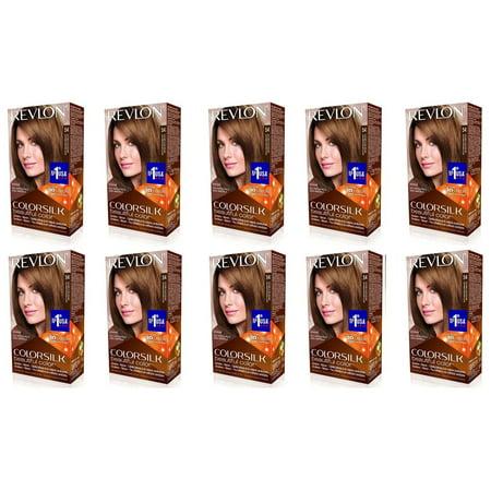 Revlon ColorSilk Hair Color 54 Light Golden Brown 1 Each (Pack of 10) + 3 Count Eyebrow