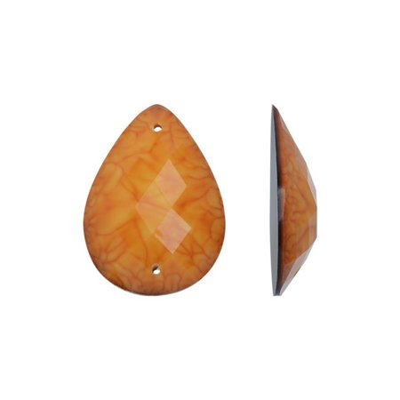 Dazzle It! Resin Sew-On Marbled Stones, 2-Hole Drop Cabochons 25x18mm, 10 Pieces, Orange