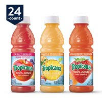 Tropicana 100% Juice, 3 Flavor Fruit Blend Variety Pack, 10 Ounce Bottles (Pack of 24)