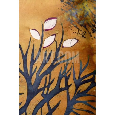 Tree Branches with Leaves on Gold Background, Hot Batik, Background Texture, Handmade on Silk, Abst Print Wall Art By Sergey Kozienko