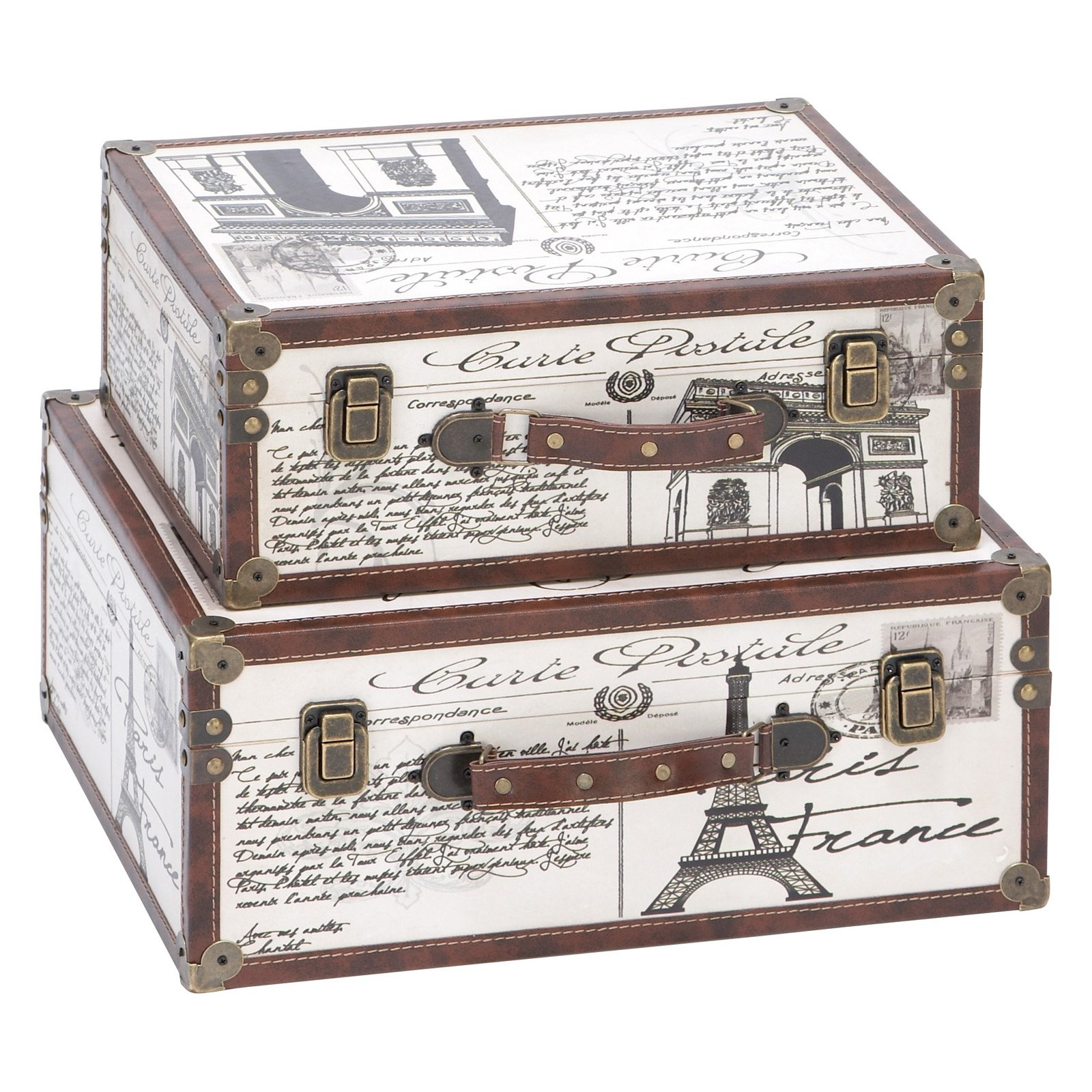 DecMode Wood and Leather Printed Decorative Box - Set of 2