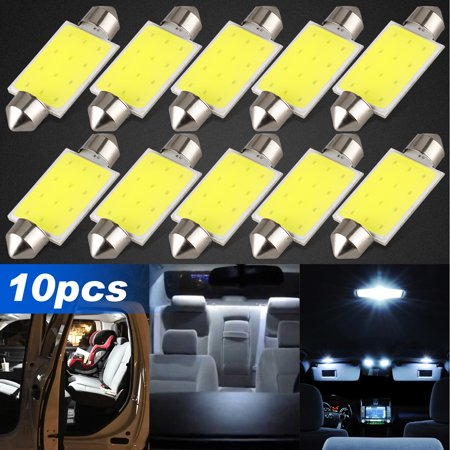 TSV 10PCS 42mm LED Bulbs, 212-2 211-2 578 Festoon LED Bulbs Error Free COB Chipsets LED White Lights Bulbs Replacement for Map Dome License Plate Lights Lamps - 6000K White