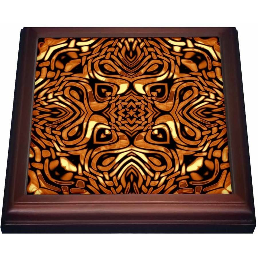 3dRose Pretty Copper Tribal Pattern, Trivet with Ceramic Tile, 8 by 8-inch by 3dRose