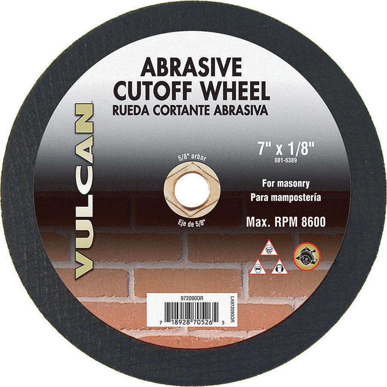 Vulcan 972090OR Cut-Off Wheel, 7 in Dia x 1/8 in T, 5/8 in Arbor