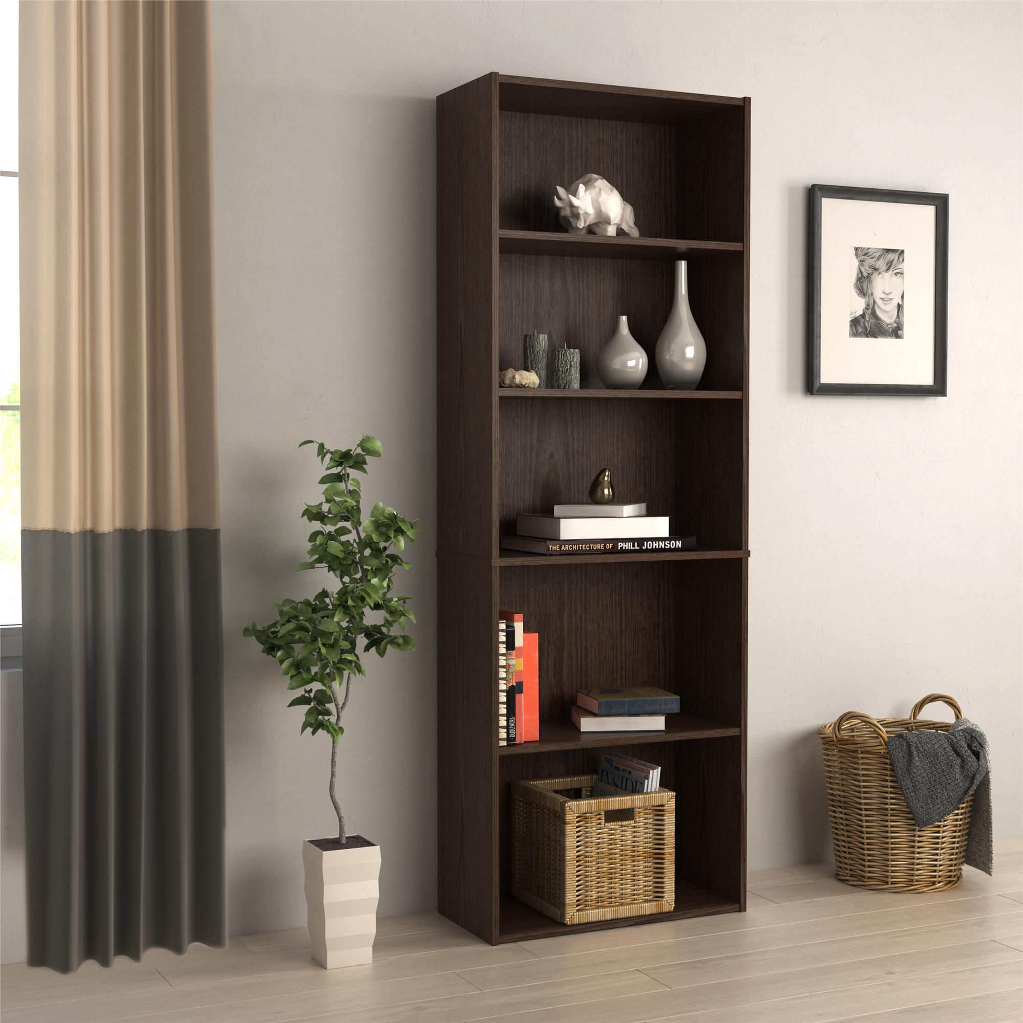 Tally 5 Shelf Bookcase, Multiple Colors