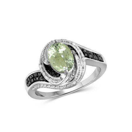 1.30 Carat Green Amethyst Gemstone and 1/10 Carat Black and White Diamond Ring
