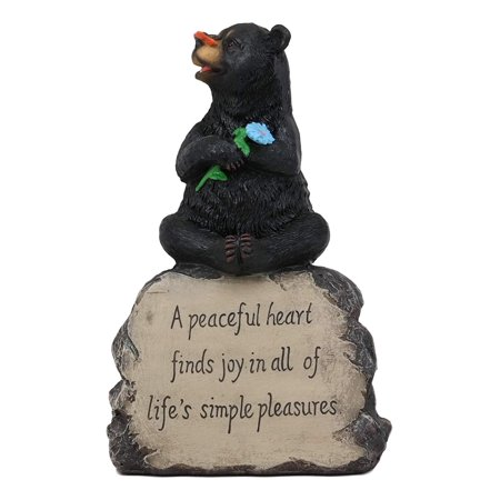 Ebros Rustic Forest Happy Heart Black Bear Sitting On Inspirational Rock Figurine with Life's Simple Pleasures Sayings Quote Whimsical Woodland Bears Animal Decor Statue Sitting Bear Figurine