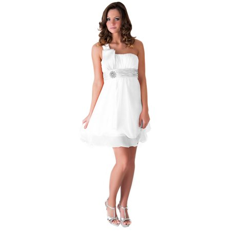 Beaded Georgette Dress (Faship One Shoulder Beaded Pleated Short Formal Dress )