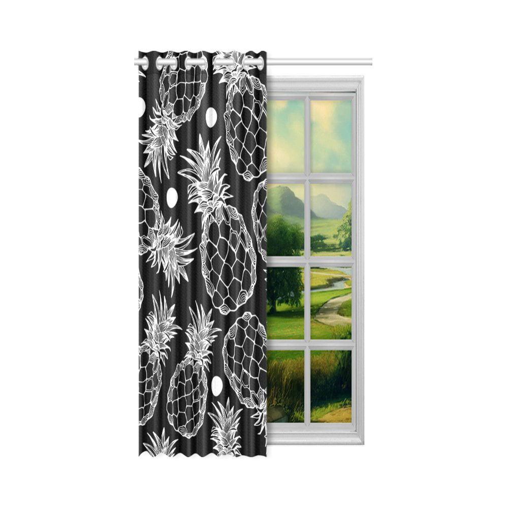 YUSDECOR Pineapple Window Curtain Living Room,Bedroom