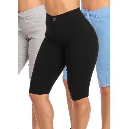 SUMMER MEGA DEAL! BEST VALUE! Womens Juniors High Waist Slim Casual Solid Black Gray Blue Capri Shorts (3 PACK G62) (Belt Fight Shorts)