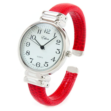 Red Snake Skin Style Band Slim Case Women's Bangle Cuff Watch ()