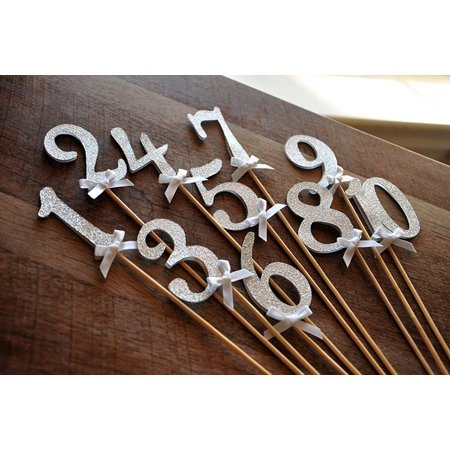 Table Numbers on Sticks in Glitter Silver. Silver Wedding Decor. Ships in 1-3 Business Days. Glitter Silver Number Centerpiece. Number 1-10](Centerpieces For New Year Eve Table)