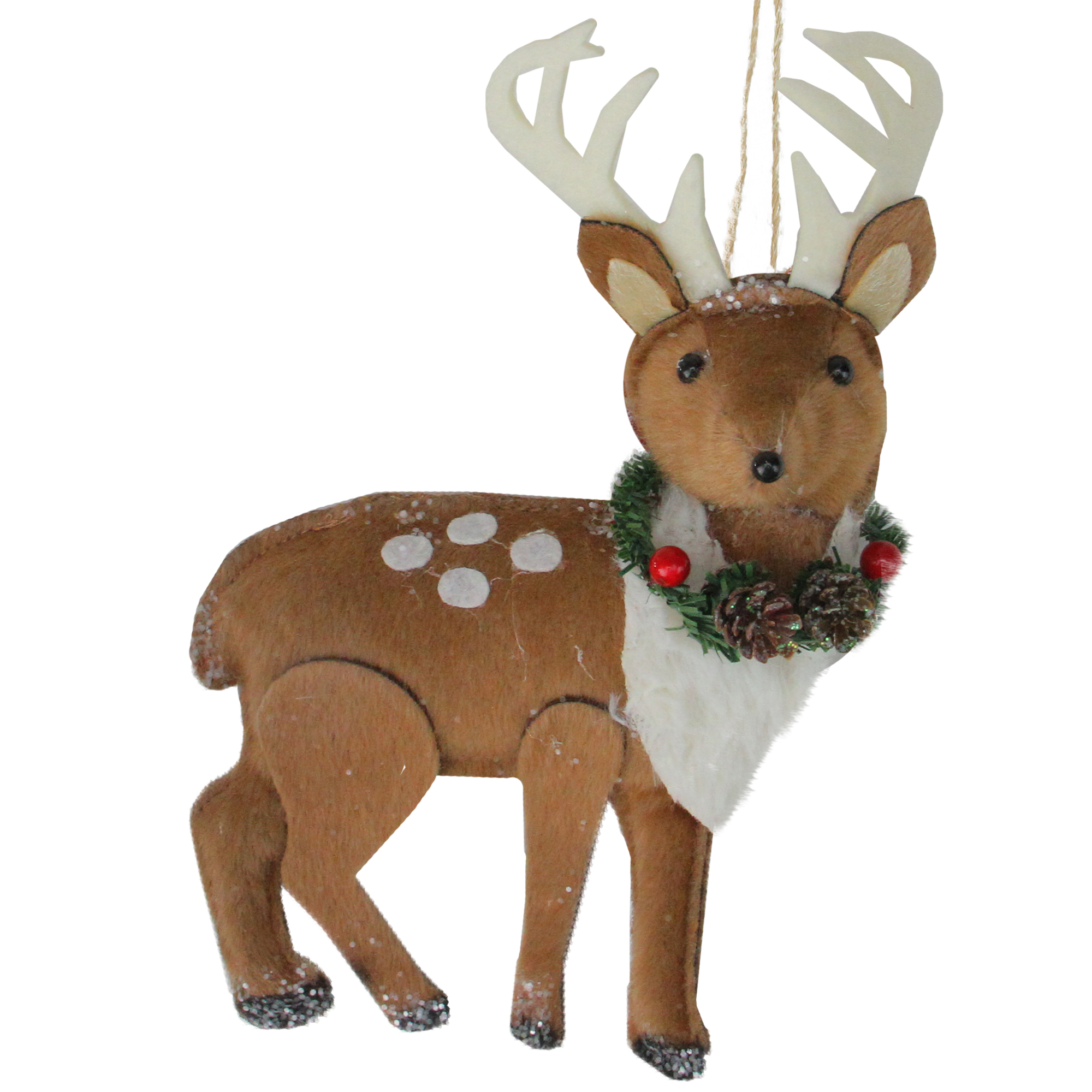 Brown and White Spotted Stuffed Deer with Antlers Christmas Ornament