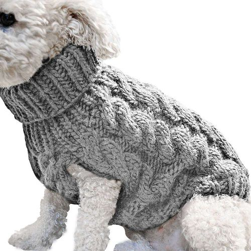 Toy Small Dogs Warm Winter Block Colour Cable Knit Roll Neck Girl Boy Jumper In Small Blue