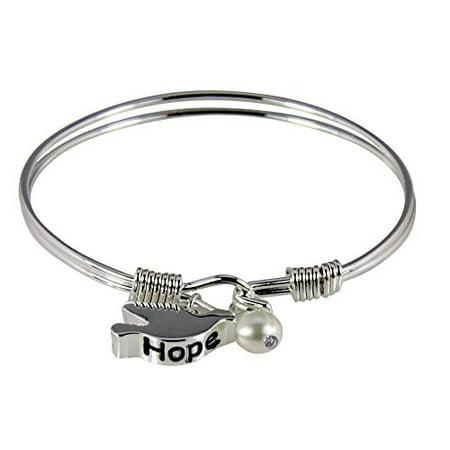 Holy Spirit Hope Dove Wire Bracelet Christian Baptism Gift