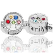 Birthstone Beads and Charms for Pandora Charm Bracelets Family Tree Stainless Steel