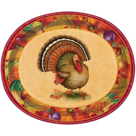 12 oval festive turkey thanksgiving dinner plates 8. Black Bedroom Furniture Sets. Home Design Ideas