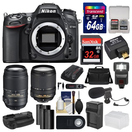Nikon D7100 Digital SLR Camera with 18-140mm & 55-300mm VR Lenses, WU-1a, Bag & 32GB Card with 64GB Card + Flash + 2 Batteries & Charger + Grip + Kit