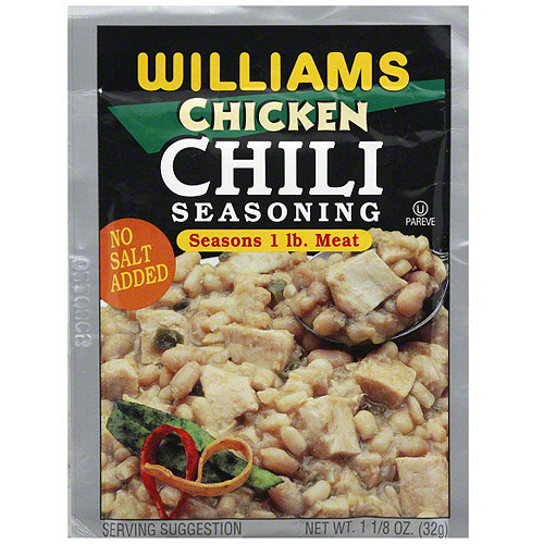 Williams No Salt Added Chicken Chili Seasoning, 1.125 oz (Pack of 24)