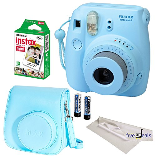 FujiFilm Blue Instax Mini 8 Camera, 4 Piece Camera Bundle, Blue Groovy Camera Case, 10 Sheets of Film, Microfiber Cloth Lenses Cleaner