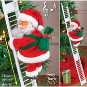 Peroptimist Ladder Climbing Santa Claus with Singing - Christmas Electric Plush Doll Figurine Decoration - Animated Hanging Xmas Ornament Toys with Music - Holiday Indoor Home Party Decor