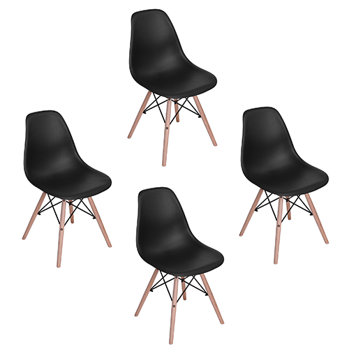 Homycasa Set of 4 Mid Century Modern Eames Style DSW Dining Side Chair with Natural Wood Eiffel Dowel Legs,Black